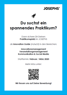 "Zum Artikel ""JOSEPHS Praktikaangebote – Innovation Guides (m/w/d)"""