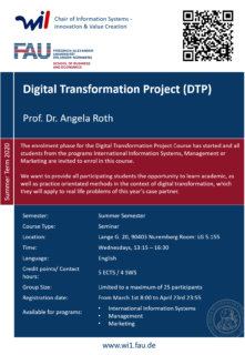 "Zum Artikel ""Course Enrolment has started: Digital Transformation Project (DTP) [5ECTS]"""